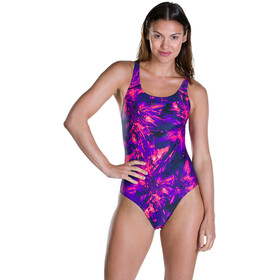 speedo FlyingFlash Allover Powerback Swimsuit Damen black/violet/post it pink